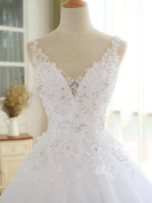 Vestido novia princesa encaje decoraciones