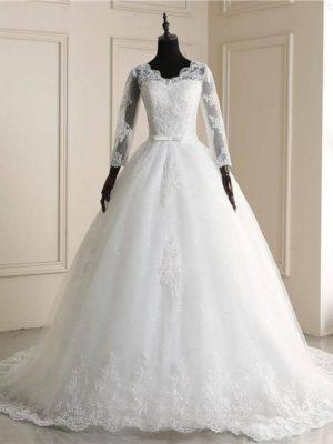 Vestido novia princesa manga encaje