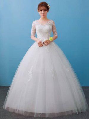 Vestido novia princesa media manga cuello pico
