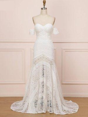Vestido novia boho corte sirena encaje