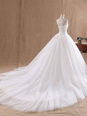 Vestido novia princesa escote corazón sin mangas