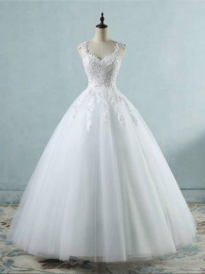 Vestido novia princesa escote corazón y tirantes