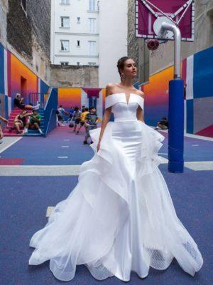 Vestido novia sirena hombros descubiertos