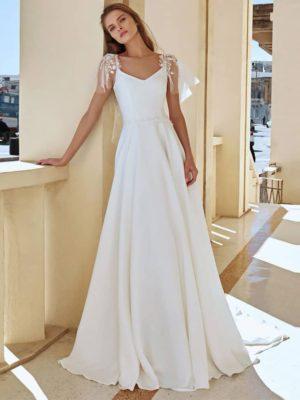 Vestido novia línea A detalle hombros