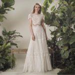 Vestido novia bohemio dos piezas manga corta
