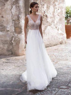 Vestido novia corte imperio cuerpo decorado falda lisa