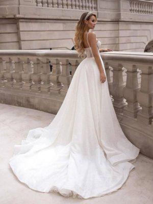 Vestido novia corte princesa cuerpo corset falda voluminosa