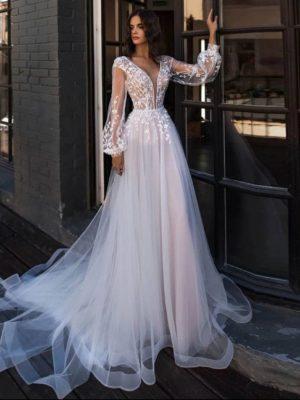Vestido novia corte princesa manga larga apliques encaje