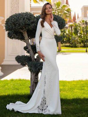 Vestido novia corte sirena cuello V apliques encaje
