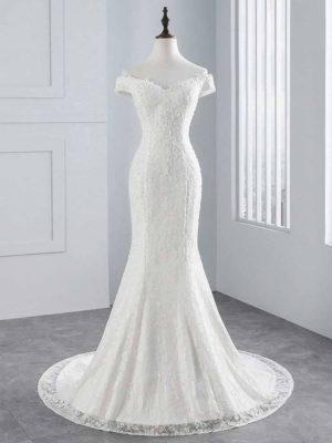 Vestido novia corte sirena escote hombros caídos cola corte