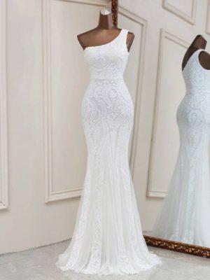 Vestido novia corte sirena escote un hombro lentejuelas decorativas