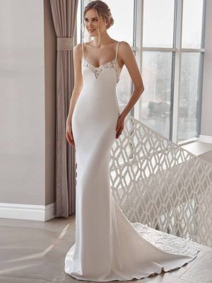Vestido novia corte sirena estilo lencero