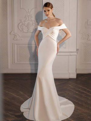 Vestido novia corte sirena hombros caídos manga corta