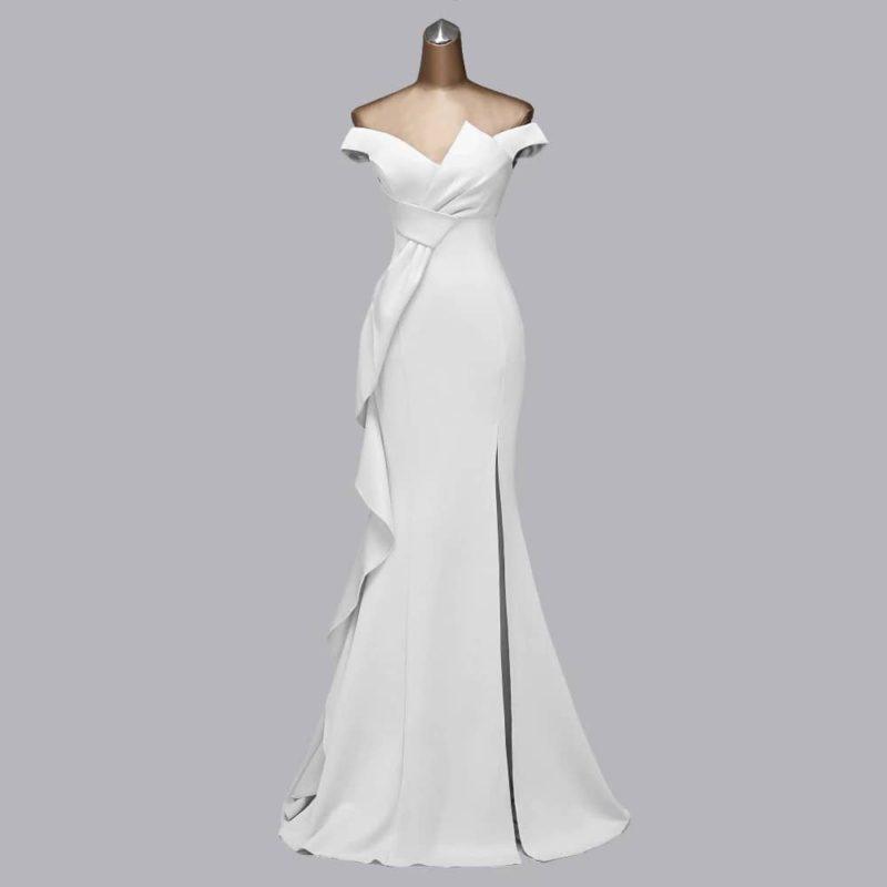 Vestido novia corte sirena lazo decorativo apertura lateral