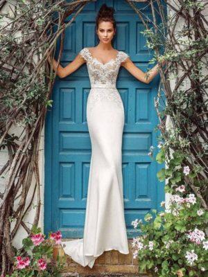 Vestido novia corte sirena manga corta escote redondo