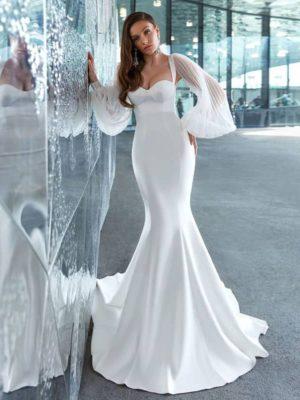 Vestido novia corte sirena manga larga abullonada espalda semidescubierta
