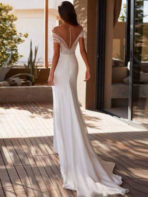 Vestido novia corte trompeta manga corta escote ilusión