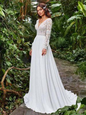 Vestido novia cuerpo encaje manga larga