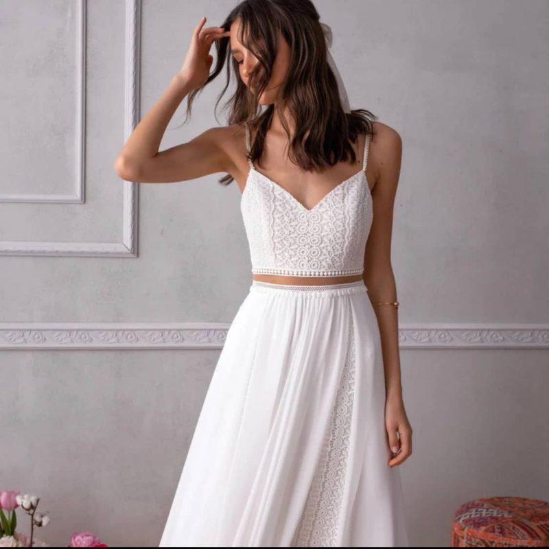 Vestido novia dos piezas inspiración boho tirante espagueti
