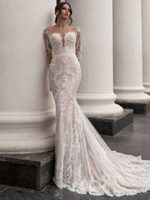 Vestido novia encaje silueta sirena