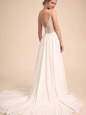 Vestido novia escote V espalda encaje