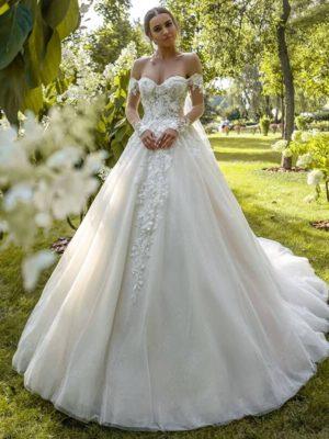 Vestido novia escote corazón aplicaciones encaje manga larga caida