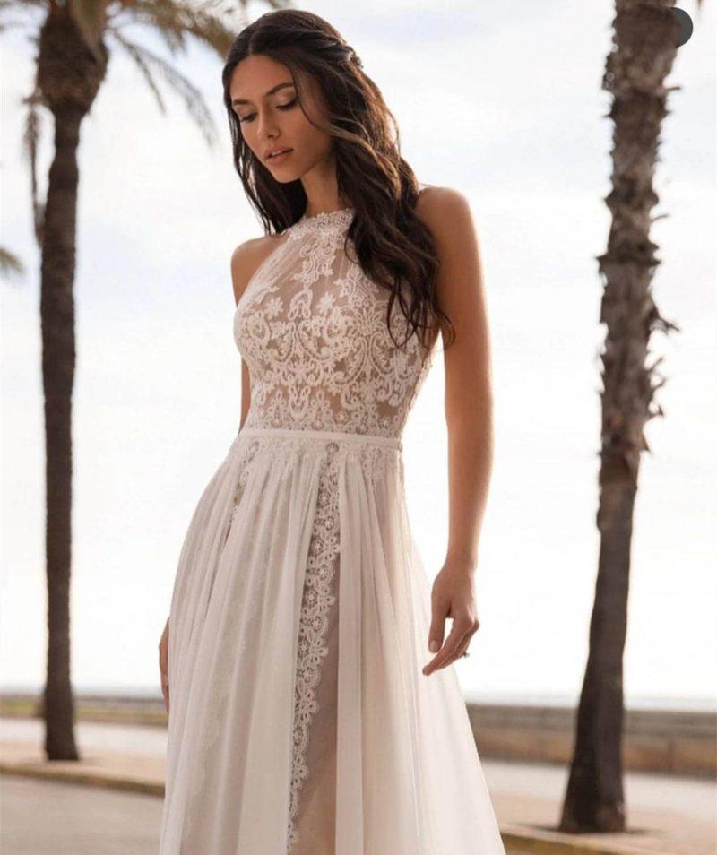 Vestido novia estilo bohemio encaje transparencias