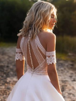 Vestido novia estilo bohemio hombros aire manguitos