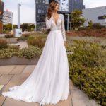 Vestido novia manga larga cuerpo encaje escote V