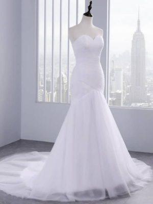 Vestido novia mangas silueta sirena cola corte
