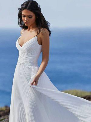 Vestido novia plisado tirantes escote V