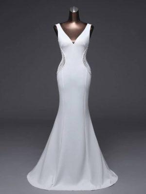 Vestido novia silueta sirena decoraciones cintura escote V