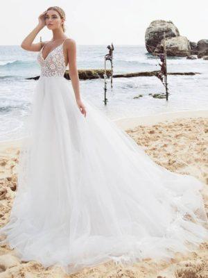 Vestido novia tirantes finos cuerpo encaje falda tul