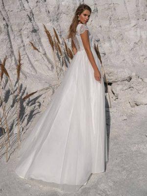Vestido novia tul cuello pico encaje espalda mangas