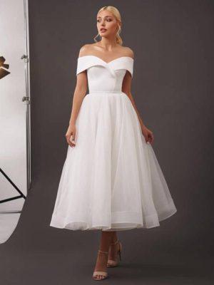 Vestidos novia corto hombros caídos espalda lazada