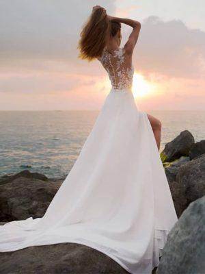 Vestidos novia sin mangas decoraciones apertura lateral