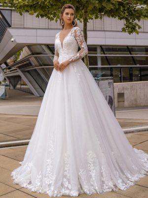 Vestido novia corte A cuello V apliques lentejuelas