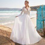 Vestido novia corte princesa cuerpo encaje espalda descubierta