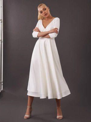 Vestido novia corto corte A cuello V